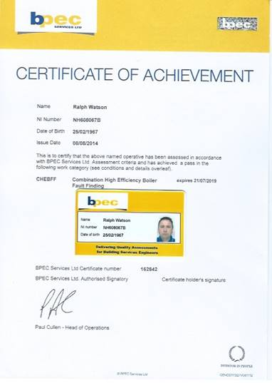 BPEC certificate